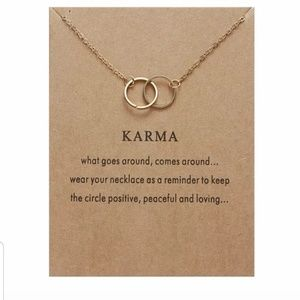 "GOLD ""KARMA"" MEANING CARD NECKLACE"